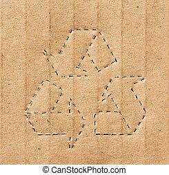 återvinnande symbol, på, den, kartong, bakgrund