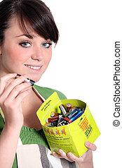 återvinning, av, använd, batterier