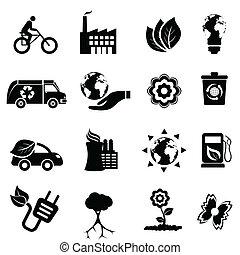 återvinning, eco, och, ren energi
