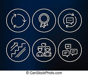 återvinning, kärlek, trappa, framgång, par, meddelanden, uppdatering, icons., comments, pratstund, signs.