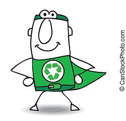 återvinning, superhero, baksida, kommande