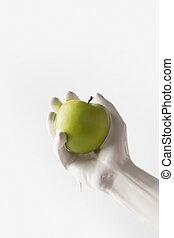 æble, image, isoleret, klippet, maling, holde, hvid, pige