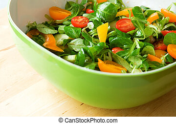 æd, healthy!, frisk grønsag, salat, betjent, ind, en, grøn salat, skål