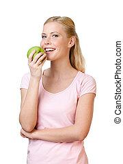 æde kvinde, unge, æble