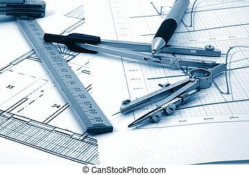 ægte, beboelses, planer, estate, architectur