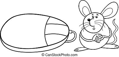 ægte, mus, coloring, computer, side