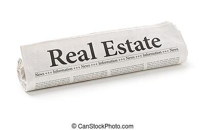 ægte, rulle avis, estate, overskrift