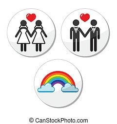 ægteskab, ikon, rask, lesbisk, regnbue