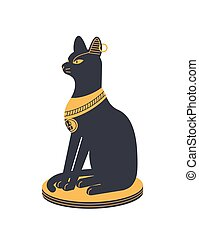ægypten, -, bast, bastet, guddom, style., ancient, løvinde, mytologisk karakter, holde, væs, lejlighed hovede, farverig, ankh, gudinde, symbol., illustration, legendariske, kat, mythology., vektor, eller