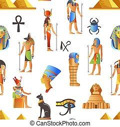 ægyptisk, ægypten, mønster, mytologiske, seamless, vektor, tegn
