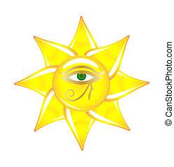 ægyptisk, øje, på, den, sol, glas