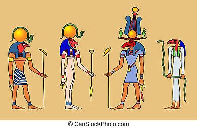 ægyptisk, -, guder, vektor
