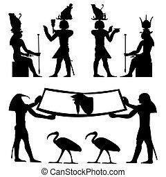 ægyptisk, hieroglyffer, og, fresco