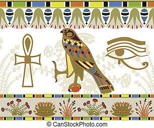 ægyptisk, mønstre, og, symboler
