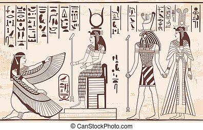 ægyptisk, national, drawing.