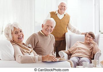 ældre, sammen, glade