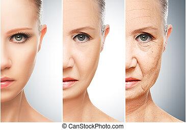 ældrende, begreb, omsorg, hud