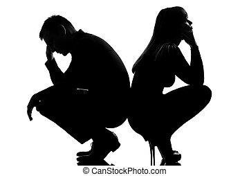 æn, bestride rigtigheden af, sørgelige, par, mand kvinde