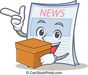 æske, avis, firmanavnet, karakter, cartoon