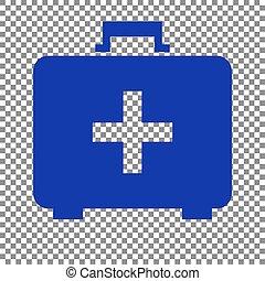 æske, blå, tegn., medicinsk, baggrund., hjælpemiddel, først, transparent, ikon