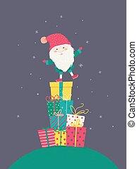 æske, gave, illustration, jul, tomte, mand