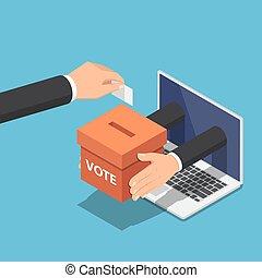 æske, isometric, dataskærm, stemmeseddel, laptop, hånd, avis, lægge, forretningsmand, stemme, komme frem