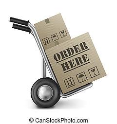 æske, karton, orden, her