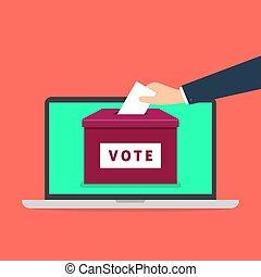 æske, laptop, screen., hånd, avis, lægge, online, stemme, stemmeseddel, concept.