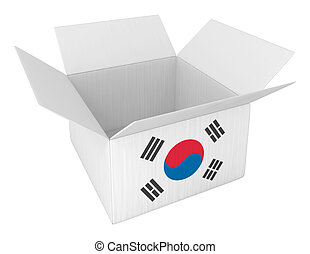 æske, lavede, beholder, isoleret, korea, hvid