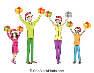 æske, rejst, ferie, gave, familie, arme oppe, hænder, greb, jul, glade