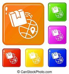æske, sæt, iconerne, farve, globale, fødsel