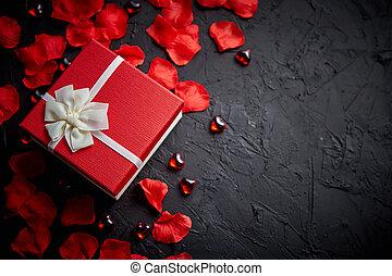 æske, sten, stemningsfuld, gave, rose kronblade, sort baggrund, ferie, tabel.