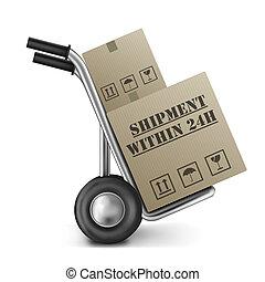 æske, trolley, indenfor, 24h, forsendelse, karton