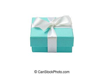 æske, turquoise, gave, isoleret, baggrund, sti, hvid
