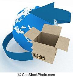 æske, verdensomspændende, klode, forsendelse, baggrund., hvid, karton, concept., 3
