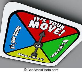 è, spostare, filatore, turno, gioco, competere, avanti, progresso, tuo
