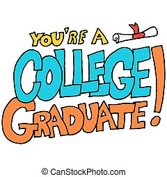 é, graduado faculdade, mensagem