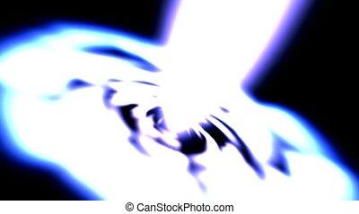 éblouissant, espace, lumière laser, rayons