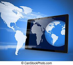 éboulis, globe, pc tablette, projeter