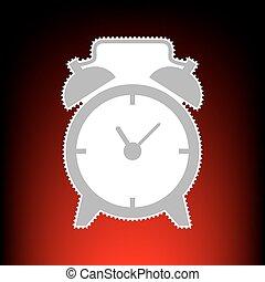 ébresztőóra, cégtábla., levélbélyeg, vagy, öreg, fénykép, mód, képben látható, red-black, gradiens, háttér.