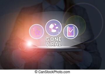 écarts, allé, viral., signe, conceptuel, par, projection, texte, photo, sharing., population, lien, rapidement