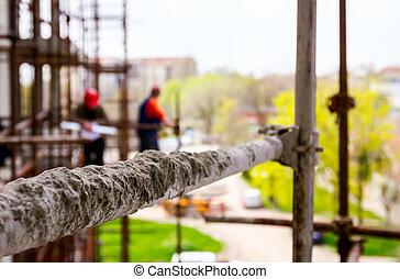échafaud, construction, au-dessus, site, vue