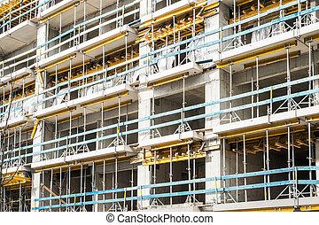 échafaud, site, bâtiment, emmagasiner construction, façade
