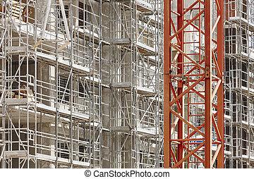 échafaudage, industrie, construction, architecture, ...