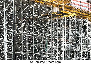 échafaudage, site, /, cadre, construction, fond