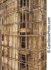 échafaudage, site, ethiopie, construction, africaine, ...