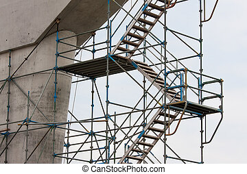 échafaudage, sky., clair, contre, site, construction
