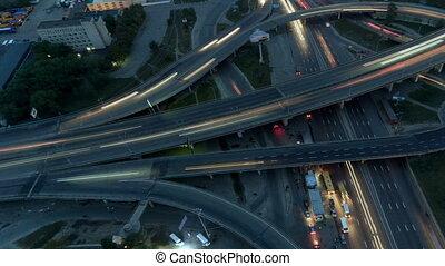 échange, aérien, vertical, sommet, autoroute, trafic, night...