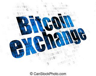 échange, blockchain, bitcoin, fond, numérique, concept: