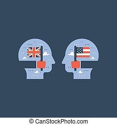 échange, britannique, américain, anglaise, drapeaux, étudiant, apprendre, programme, international, education